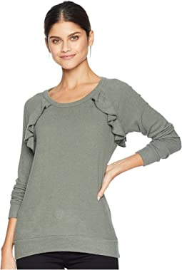 Love Knit Long Sleeve Ruffle Open Back Raglan Pullover