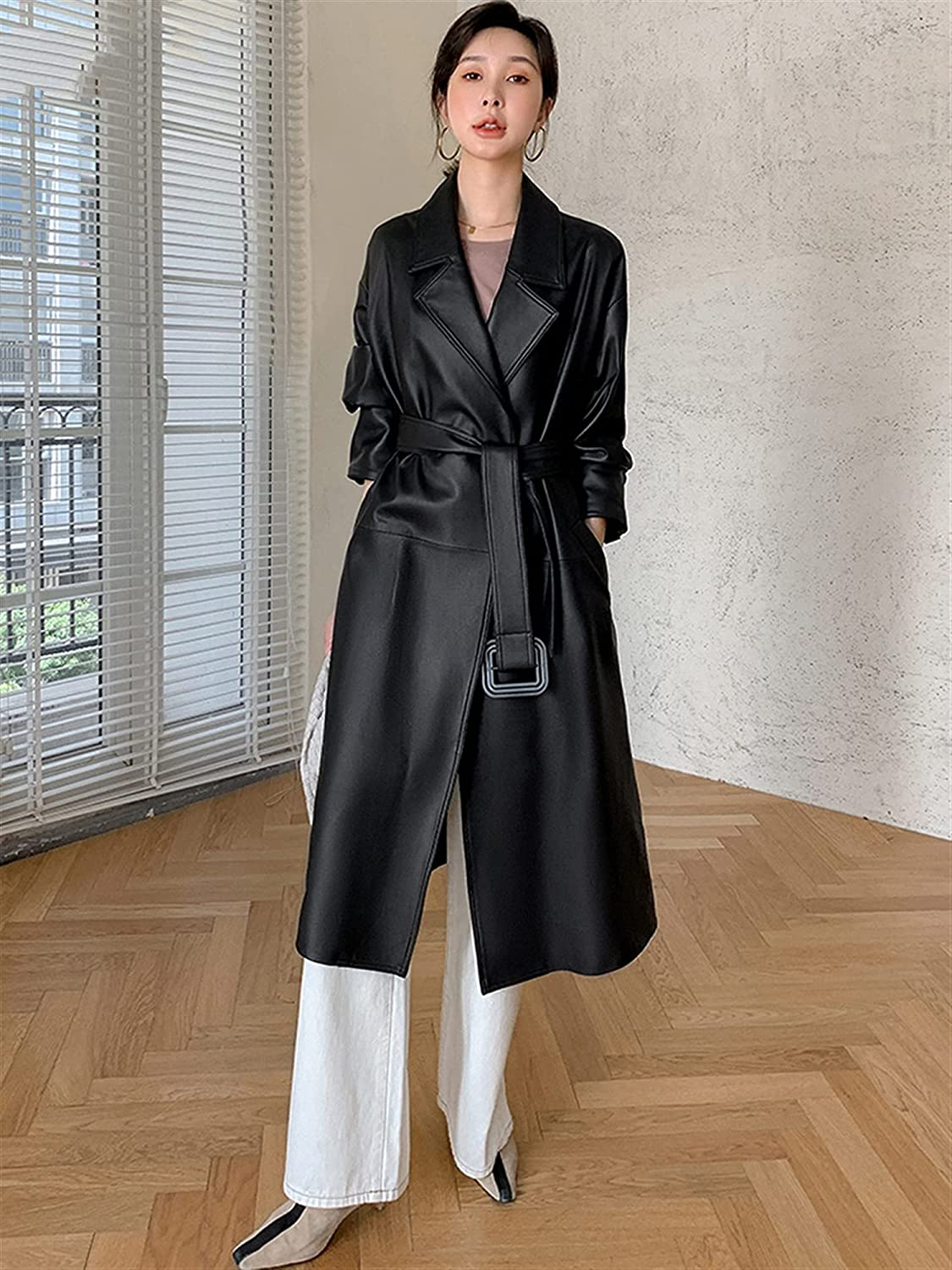 KSFBHC Autumn Long Waterproof Faux Leather Trench Coat for Women Belt Casual Loose Clothing (Color : Black, Size : XX-Large)