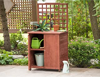Leisure Season GST6302 Potting Table With Storage - Brown - 1 Piece - Indoor and Outdoor Wood Work Table - Organizer for Plant Pot and Gardening Tools - Multi-Function Workbench with Doors and Shelves