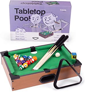 Tabletop Pool, Mini Pool Table & Billiard Set   Small Billiards Game with 16 Resin Balls, 2 Pool Cues, Triangle Rack, & Chalk   Travel-Friendly & Office Desk Games, Bartop, or Home Use & Easy Storage