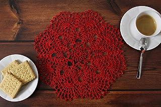 Mantel de algodón de ganchillo redondo - hecho a mano en Italia