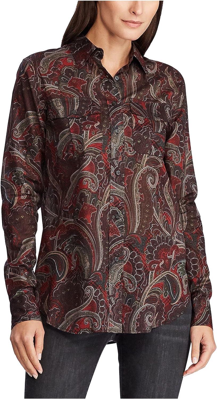 LAUREN RALPH LAUREN Women's Paisley Print Button-Down Shirt (S, Black Multi)