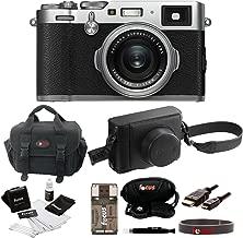 Fujifilm X100F Silver Digital Camera w/ Fuji Black Leather Case
