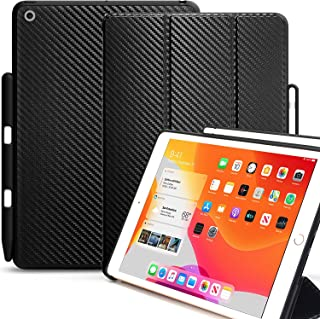 KHOMO iPad 10.2 2019 Case with Pencil Holder (7th Generation) - Dual Series - Cover - Black Carbon Fiber