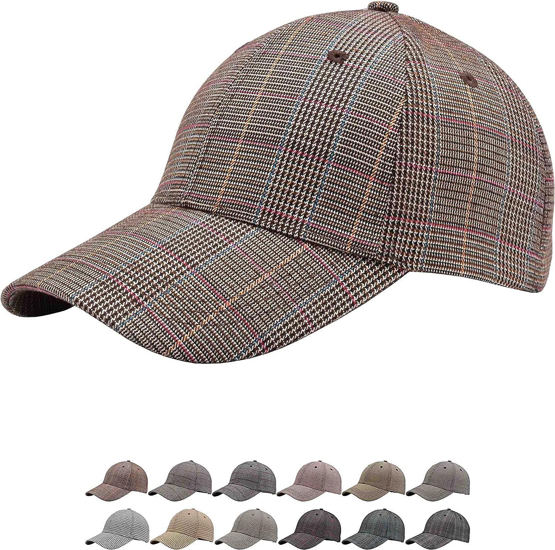 Unisex Fashion Heathered Blitzing Strapback Hats Closure,Low Profile One Size Plaid Adjustable Baseball Caps for Men Women