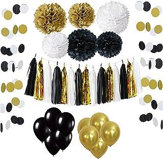 Wartoon 43 Pcs Papel Pom Poms Flores Tissue Globo Tassel Garland Polka Dot Kit de Guirnalda de Papel para Las Decoraciones del Banquete de Boda de Cumpleaños - Negro y Dorado