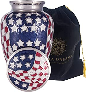 Adera Dreams American Flag Adult Cremation Urn for Human Ashes - American Flag Large Funeral Urn with Velvet Pouch - Full Size Burial Urn for Cremains of Veterans and Patriots