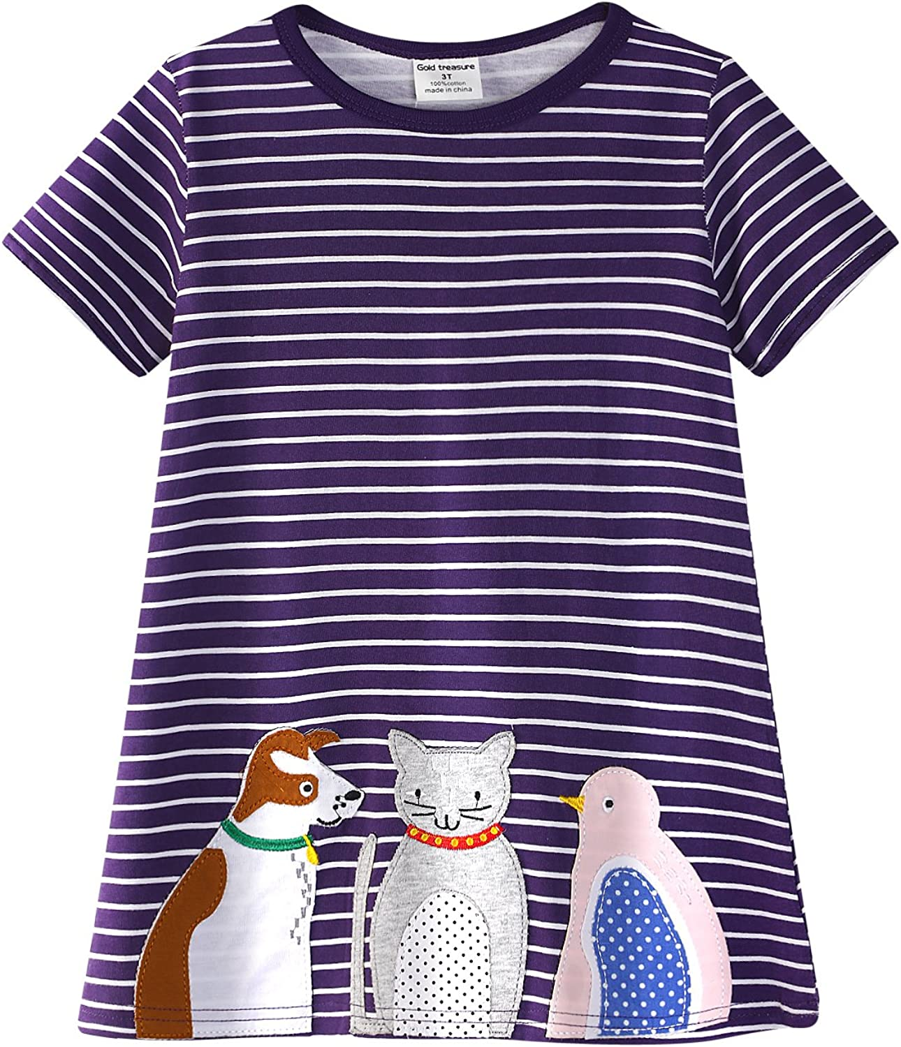 PRETCFTB Girls Cotton Short Sleeve Casual Dress with Animals and Stripes