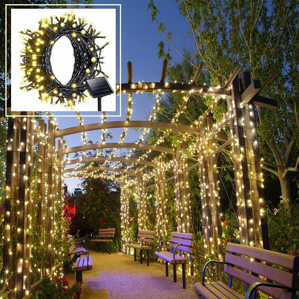 Amazon Com Solar Led String Lights Outdoor Warm White Christmas Lights 200 Leds 8 Modes 72ft With Dusk To Down Sensor For Xmas Tree Wedding Party Holiday Decorations Kitchen Dining