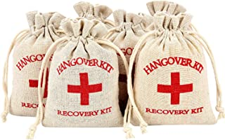 Maxdot 60 Pieces Red Cross Cotton Muslin Bags Drawstring Survival Kit Bag Bachelorette Hangover Kit Bags for Wedding and Party, 6 by 3.9 inches