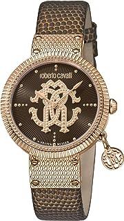 ROBERTO CAVALLI Women's RC-57 Gold Tone Swiss Quartz Watch with Leather Calfskin Strap, Brown, 16 (Model: RV1L062L0046)