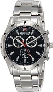 Swiss Military Hanowa - Swiss Military 06-8041.04.007 - Reloj analógico de Cuarzo para Hombre con Correa de Acero Inoxidable, Color Plateado