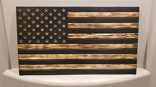 San Tan Woodworks Standard Size Burnt Wood Gun Concealment American Flag With Carved Stars Hand Made 100 American Gun Concealment Furniture For The Home Burnt