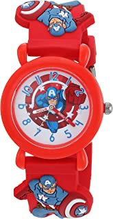 MARVEL Boys Avenger Analog-Quartz Watch with Plastic Strap, red, 16 (Model: WMA000159