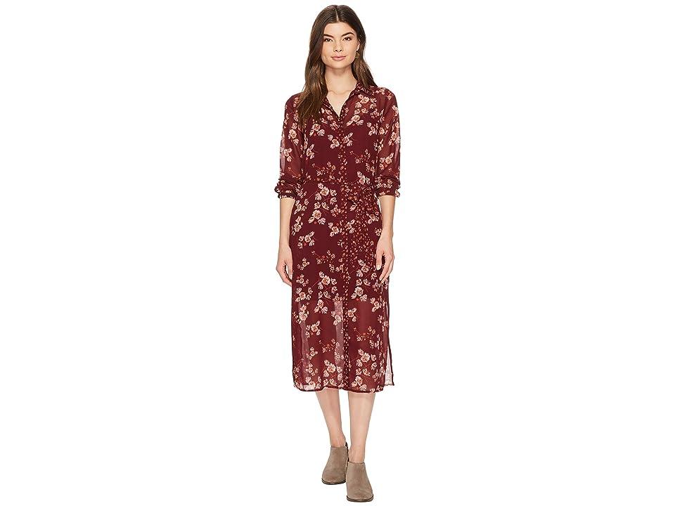 Lucky Brand Mixed Print Emily Dress (Burgundy Multi) Women