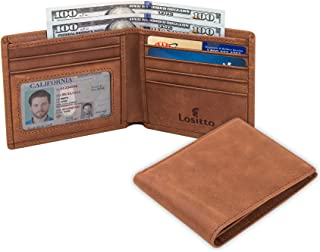 RFID Blocking Top Grain Leather Wallet for Men-Excellent as Travel Bifold