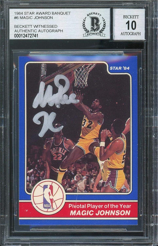 Lakers Magic Johnson High order Signed 1984 Star Banquet #6 OFFicial shop Award Auto Card
