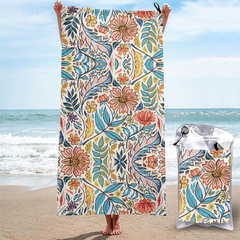 Luxury goods Vivid Max 64% OFF Colorful Art Nouveau Floral Beach Towel Bath Super