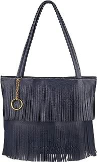 Faux Leather Tassel Fringe Holiday Shopper Bag Shoulder Travel Handbag Tote