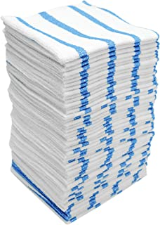 VIKING 449701 Bulk Edgeless Microfiber Cleaning Cloths, White and Blue Stripe, 50 Pack
