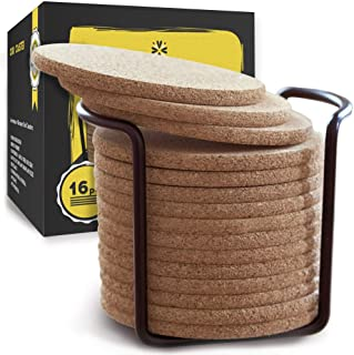 Cork Coasters with Round Edge 4 inches 16pc Set with Metal Holder Storage Caddy – Thick Plain Absorbent Heat-Resistant Reu...