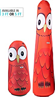 BONK FIT High Performance Polyurethane Kids Inflatable Punching Bag Bop Toy PVC-Free with Machine Washable Designer Cover - 1.5ft, 3ft, 5ft