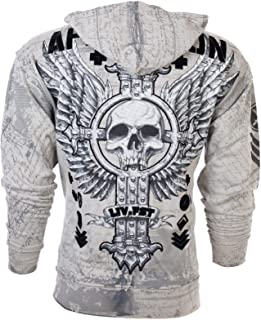 Affliction Mens Hoodie Sweat Shirt Zip UP Jacket Vive RAPIDO Skull Biker UFC