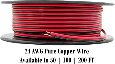 GS Power 24 AWG (American Wire Gauge) OFC Pure Copper 100 ft Red Black Bonded Zip Cord Cable for 12Volt Auto Harness Model Train Radio Drone ATV Wiring (Also in 50 & 200 Feet Roll)