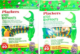 Plackers Kids Mixed Berry Dental Flossers 40 x 2 Bags = 80