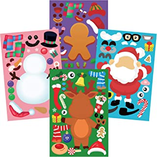Christmas Party Games for Kids, DIY Christmas Santa Reindeer Snowman Gingerbread Face Stickers, Make Your Own Christmas St...