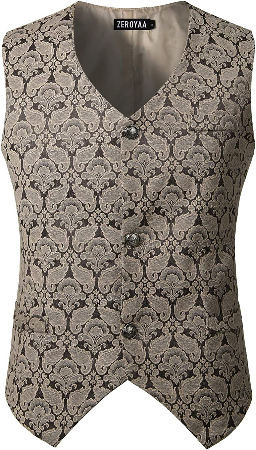 ZEROYAA Mens Challenge the lowest price of Japan Single Breasted Deluxe Vest Bro Steampunk Gothic Victorian