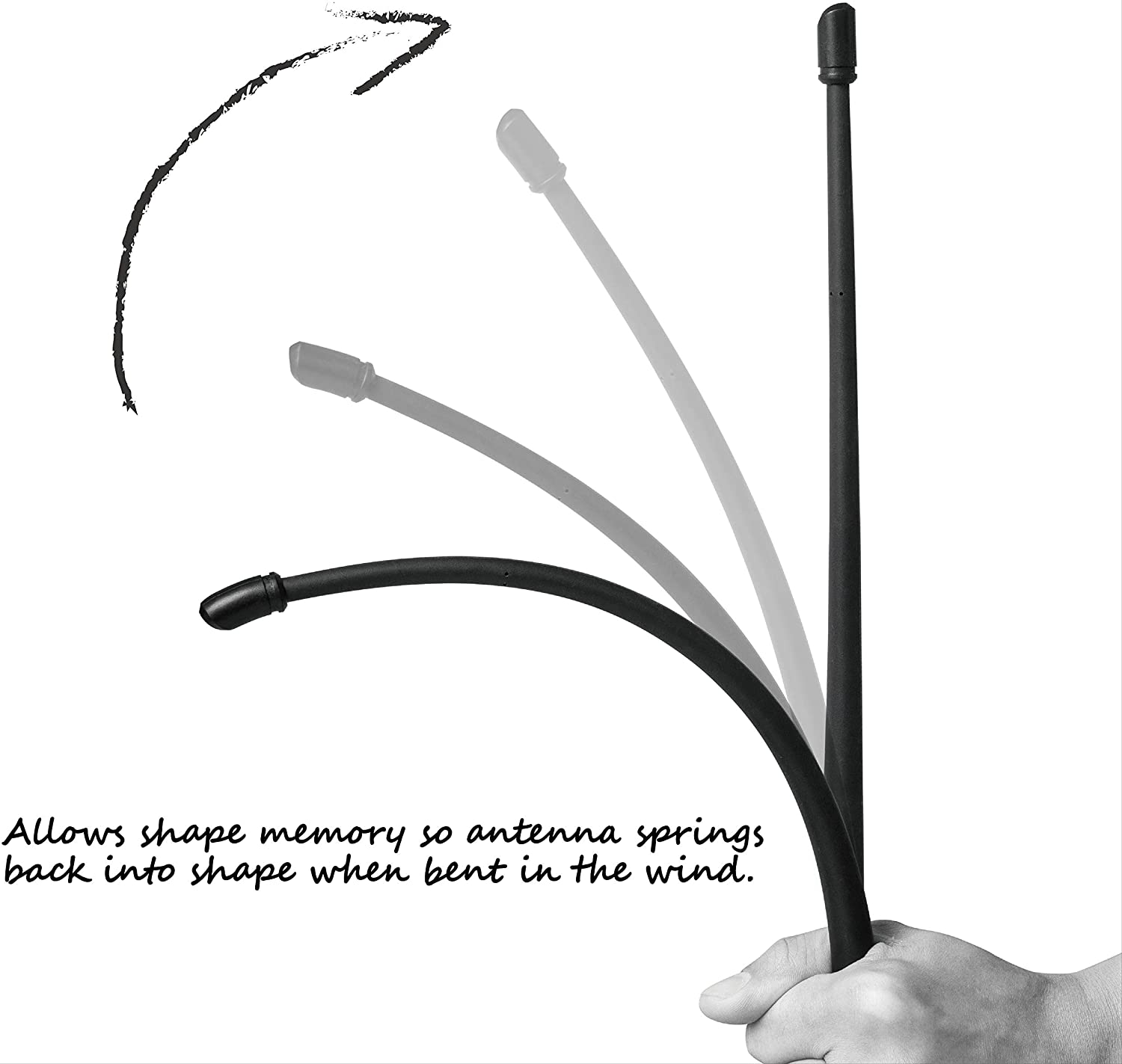 Rydonair Antenna Compatible with Jeep Wrangler JK JKU JL JLU Rubicon Sahara (2007-2021) | 13 inches Flexible Rubber Antenna Replacement | Designed for Optimized FM/AM Reception