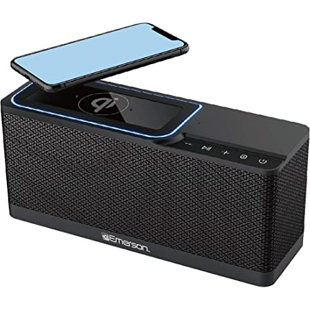 Emerson Radio ER-BTW100 Portable Bluetooth Speaker, 20W Stereo with QI Wireless Charging, Hands Free Calling, Additional USB Charging, Black