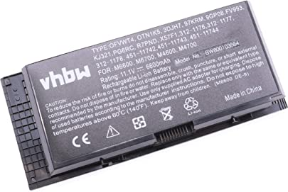 vhbw Akku passend f r Dell Precision M4600  M4700  M4800  M6600  M6700  M6800 Notebook  6600mAh  11 1V  Li-Ion  schwarz