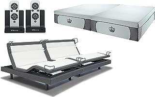DynastyMattress 14.5-Inch Grey CoolBreeze Gel Memory Foam Bed with Reverie 8Q Adjustable Base Set Sleep System (Split King-Grey)