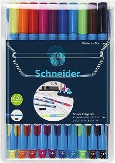 Schneider Pen, Slider Edge XB (Extra Broad), Wallet, Pack of 10, Assorted (RS152290)