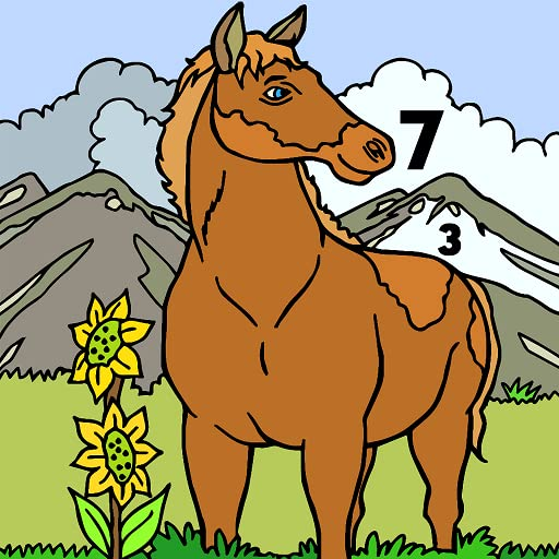 Horse Color by Number Book Animals Grownups Paint Glitter Crayon Coloring Pages product image