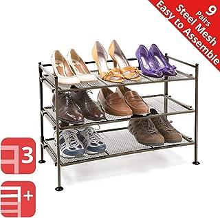 Seville Classics 3-Tier Stackable 9-Pair Steel Mesh Shelf Sturdy Metal Frame Shoe Storage Rack Organizer, Perfect for Bedroom, Closet, Entryway, Dorm Room, Espresso
