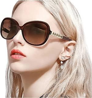 FIMILU Women's Classic Polarized Sunglasses,Stylish Decorated 100% UV Protection Eyewear for Driving Shopping