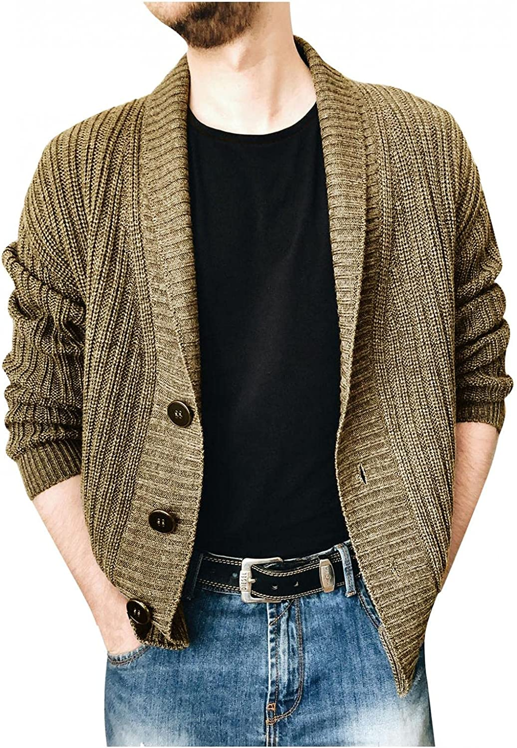 Mens Shawl Collar Cardigan Sweaters Long Sleeve Open Front Button Down Knitwear Blouse Casual Slim Fit Warm Coat Tops