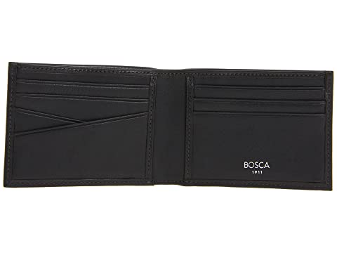 Leather Billetera plegable pequeña New cuero Old de negro Collection Bosca Fashioned nXqB1f5