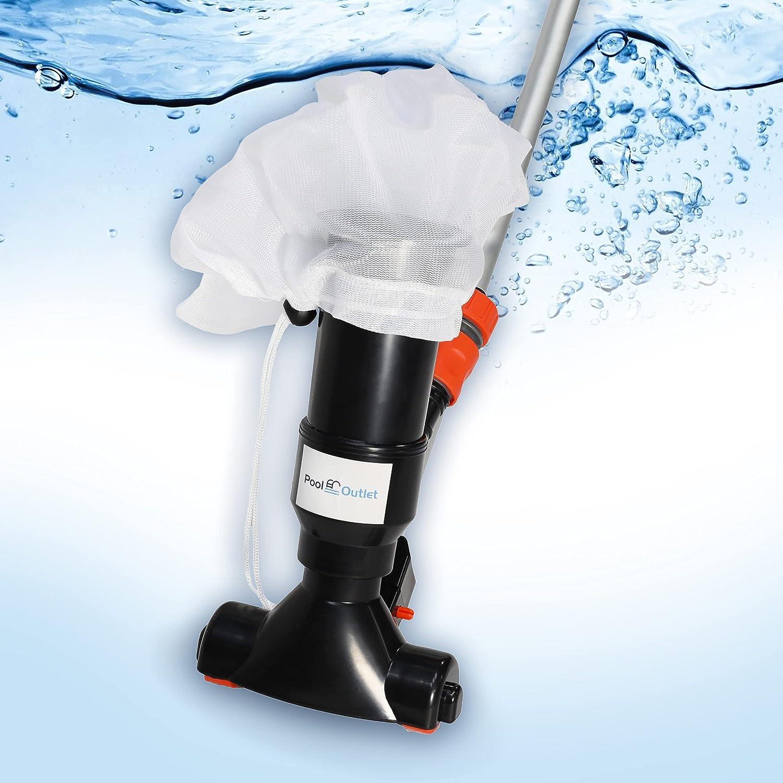 Pooloutlet Aspirador portátil para piscinas, aspirador manual para piscinas y spas - Aspiradora de hojas, limpiador subacuático con cepillo, para piscinas, estanques, piscinas hinchables.