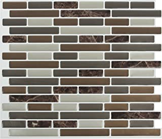 Peel and Impress - Easy DIY Peel and Stick Adhesive Backsplash Tiles, 24088B Mixed Brown Marble, Oblong, 11