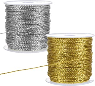 LIHAO 2 Rolle Metallic Kordel Silber Fäden Goldkordel Craft Cord Metallisch Lametta Schnur Seil für Geschenkpapier Dekoration Kunsthandwerk DIY Gold, Silber
