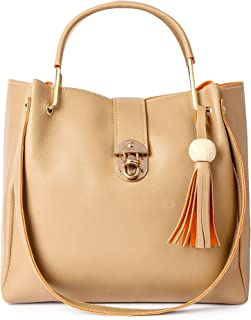 Apsaraa Enterprise-Ladies Hand Bag Leather Branded and Hand Bag Tote for Women(Cream)