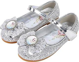 YOSICIL Zapatos de la Princesa Elsa niñas con Lentejuela Zapato de Disfraz Elsa Frozen de Princesa Disfraz Sandalias con V...