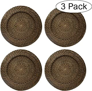 ChargeIt by Jay Round Rattan Chargers Set of 4 Decorative Service Plates for Home, Professional Fine Dining Perfect for Events & Dinner Parties (Thrее Расk)