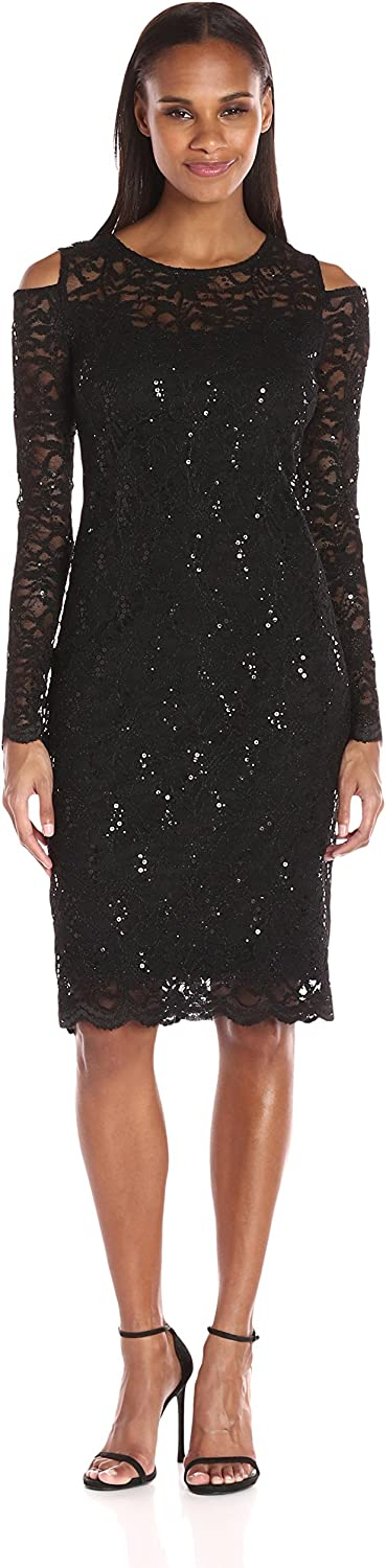 T I A N A B. Womens Long Sleeve Cold Shoulder Floral Sequin Scallop Lace Dress