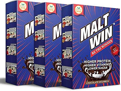 Maltwin Nutrition Health Drink for kids 100 Malted Barley Higher Protein Active Immuno Nutrients for Growth Immunity Chocolate Bourbon 3 x 450g Refill Box with FREE 2 x 30g Sachet