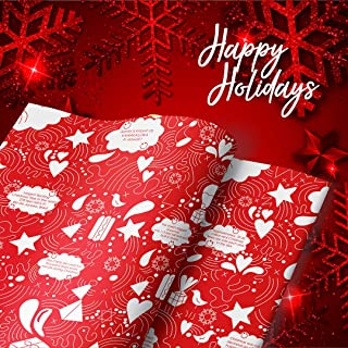 eVincE 50 Red Christmas Gift Wrapping Paper roll   Large Size Recyclable Sheets 50 x 70 cms   Kris Kringle Santa Doodles f...
